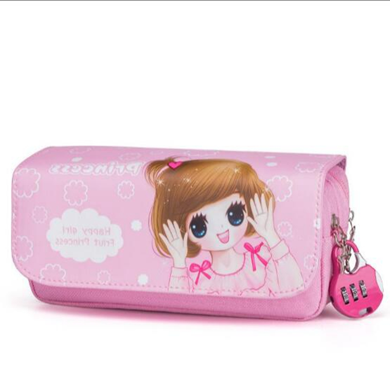 Kawaii Cartoon Girls School Pencil Case With Lock Cute Pu Leather large Capacity Pencil Bag Gift Bts Pen Box Stationery Supplies cute kawaii pencil case school pencil bag korean stationery pu leather pen bags box for boys girls