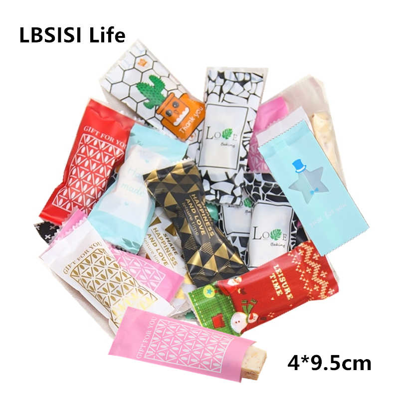 LBSISI Life 200Pcs Nougat Sugar Plastic Bags Peanut Candy Wrappers Handmade Candy Wrapping Bakery Decoration Packaging 4*9.5cm