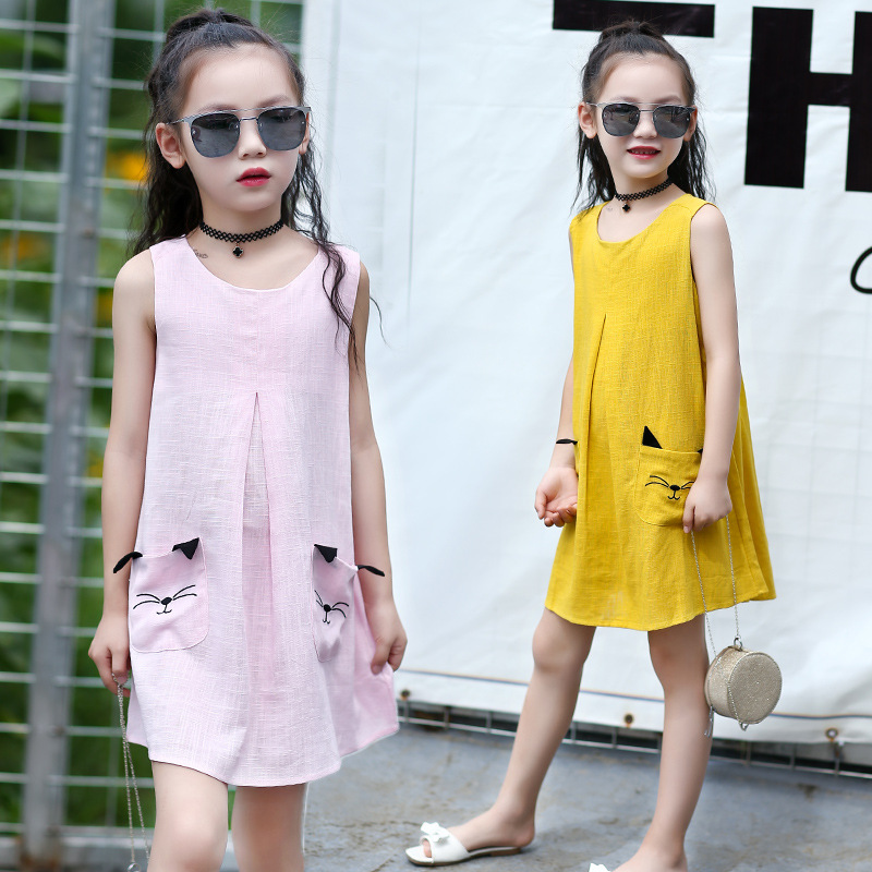1 Pcs Free Shipping 2017 New Summer Baby Kids Girls Cute Character Cat Pattern Pocket Design A-Line Dress Girls Sleeveless Dress ems dhl free shipping 2017 new kids summer girl mask owl cat owlette cotton cloak dress wholesale