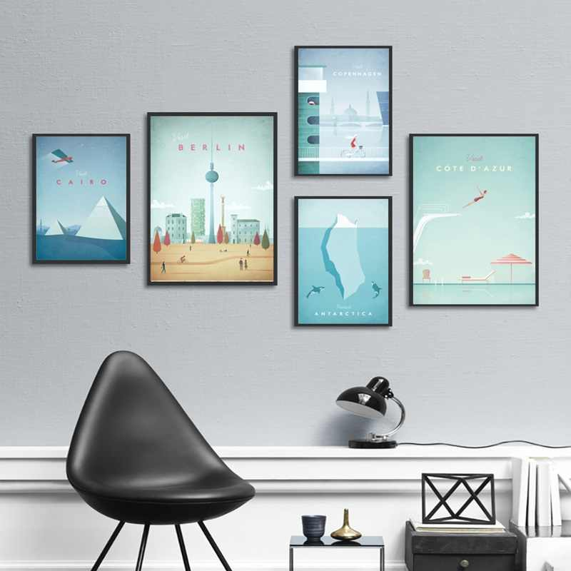 Nordic Decoration Cartoon World Cities Posters and Prints Rio Cairo Canvas Painting Paris Wall Pictures for Living Room Home Art
