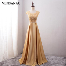 VENSANAC 2018 A Line O Neck Crystals Sash Long Evening Dresses Elegant Bow Tank Lace Embroidery Party Prom Gowns