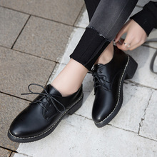 Women Shoes Classics PU Leather Pointed Toe Lace-Up Med(3cm) Thick High heel Black Casual Lady Student Shoes Female Pumps Shoes цена 2017