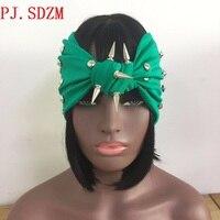 펑크 스타일의 새로운 디자인 리벳 머리띠 여성 소라 머리띠 스터드 머리띠 스타 리벳 스카프 헤어 액세서리 FG0067