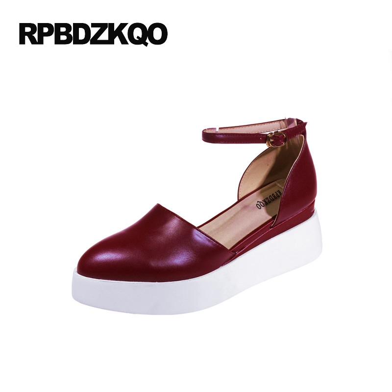 Ankle Strap Platform Sandals Medium Women Pointed Toe White Closed Japanese High Heels Wine Red Wedge Shoes Pumps Plus Size