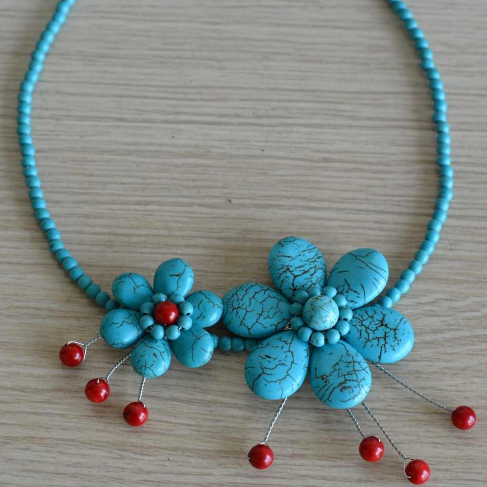 Noble Female Jewelry Blue Turquoises Flower Coral Bead Necklace Gifts Jewelry Wholesale Free Shipping