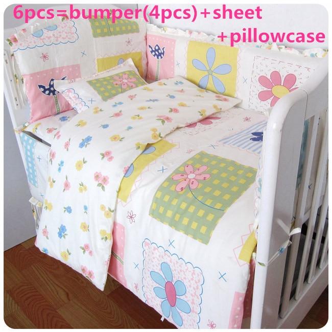 Promotion! 6/7PCS 100% Cotton Kid Baby Bedding Set Product Infant Cartoon Quilt Cover,120*60/120*70cm