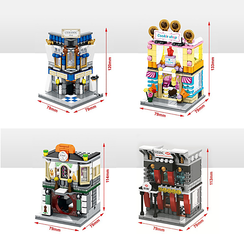 4pcs/Set Mini Street View Building Bricks Blocks City Toys Cloth Cookies Ceramics Shop Bank Compatible With Legoe City Kids Gift compatible lepin city mini street view building blocks chinatown satin silk store with saleman figures toys for children gift