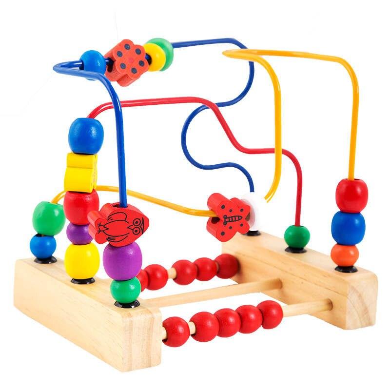 나무 구슬 장난감 세 번째 줄 꽃과 새들의 구슬 프레임 주위에 아기 유아 장난감 아이의 고전 장난감