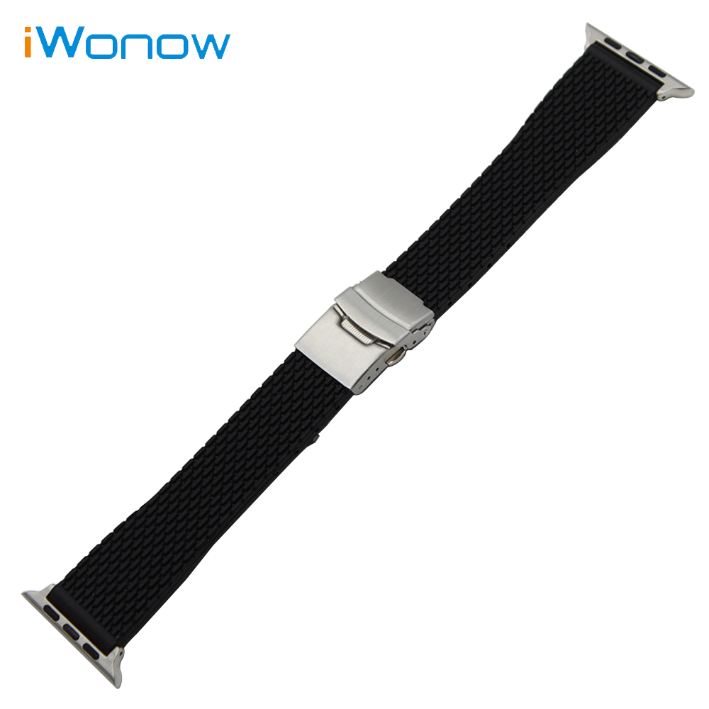 Silicone Rubber Watchband Sports Strap for 38mm 42mm iWatch Apple Watch Band Stainless Steel Safety Buckle + Spring Bar Adapters jansin 22mm watchband for garmin fenix 5 easy fit silicone replacement band sports silicone wristband for forerunner 935 gps
