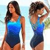 Large Size 2018 Women One Piece Swimsuit Female Sexy Print Vintage Swimwear Women Fused Criss Cross