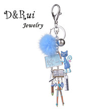 Funny Keychains for Women Men Enamel Cat Pompom Tools Keychain Charm Key Chain Ring Car Bag Pendant Woman Accessories Jewelry