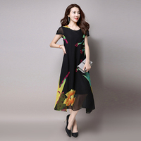 New Arrive Women Summer Chiffon One Piece Dress O Neck Short Sleeve Fashion Plus Size Full