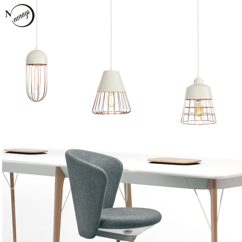 American creative simple pendant light E27 LED rose gold hanging lamp for living room bedroom study hotel restaurant cafe store|Pendant Lights| |  - title=