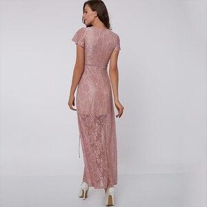 Image 3 - Tanpell vestido de noche rosa hasta el tobillo, sexy, de encaje