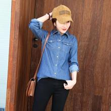 2019 spring and autumn new fashion street style solid color denim shirt women, casual loose large size shirt women two colors цены