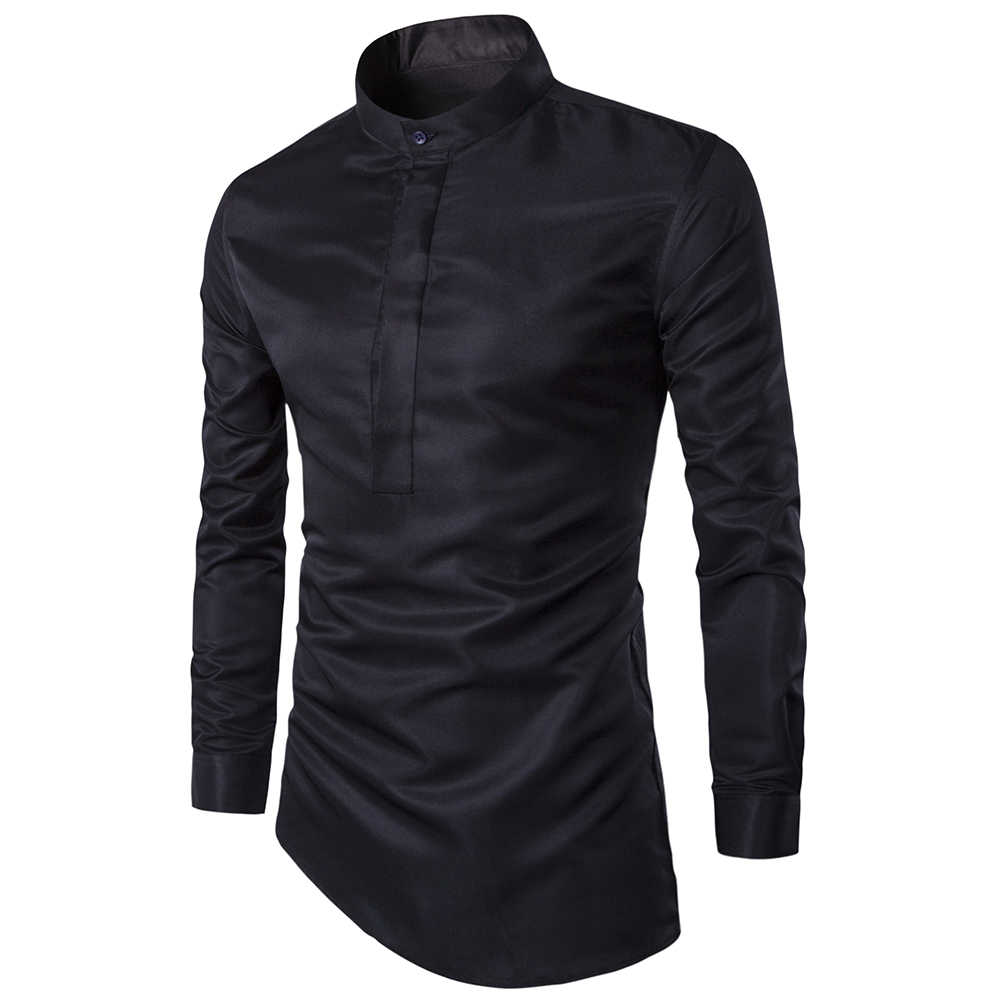 Personalized fashion high quality men's shirts Business Casual Slim Dress shirt men Clothes camisa masculina black & white