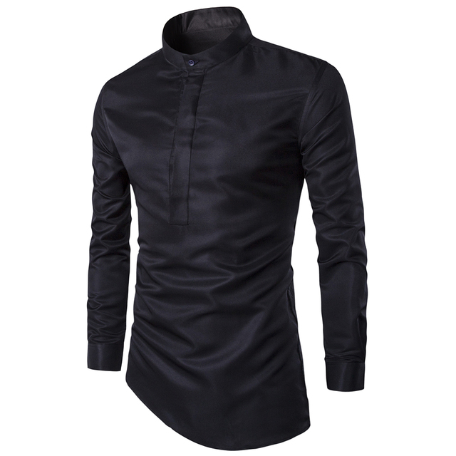 dfe6338eb60 US $13.74 40% OFF Personalized fashion high quality men's shirts Business  Casual Slim Dress shirt men Clothes camisa masculina black & white -in ...