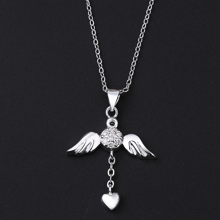 ea72a14aa2134 SPCN674 925 Sterling Silver Angel Wings Heart Necklace Pendant For Women  With Natural Stone Female 925 Sterling Silver Jewelry-in Pendant Necklaces  from ...