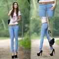 La moda de Nueva Otoño Invierno Pantalón Mendigo Ripped Jeans Para Mujeres bajo La Cintura Los Pantalones Vaqueros Flacos Femeninos Delgados Pies Lápiz Pantalones de Las Mujeres pantalones