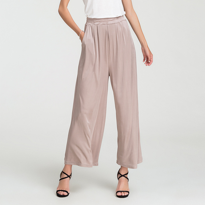 Silk Broad-legged Pants, Loose 100% Silk Casual Pants, Large Size, High Waist Straight Trousers