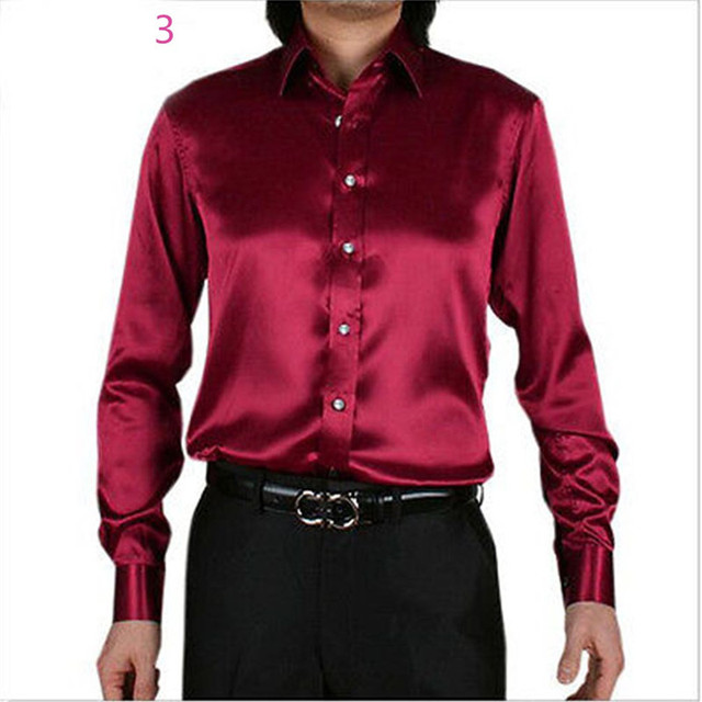 e02a3c49dc4e9b LightSung promption long sleeve casual loose silk men shirt thin plus size  plus size male wedding dress shirts solid 21 color