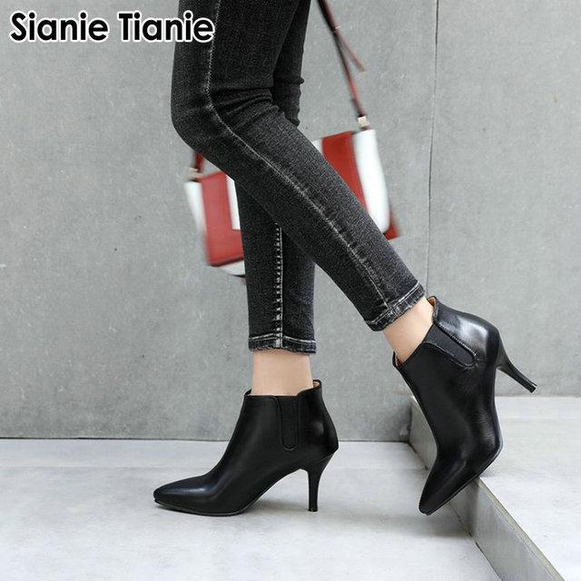 Sianie Tianie 2020 חורף סתיו האביב דק עקבים גבוהים נעלי אופנה מחודדת הבוהן משאבת גבירותיי נעלי עקב מגפי נשים קרסול מגפיים