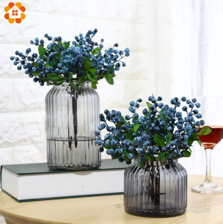 10PCS Artificial Blueberry Decorative Fruit Berry Flower Bud Silk Flowers Fruits For Wed ...