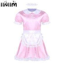 Iiniim 3Pcs Mens Sissy Mädchen Maid Kleid Uniform Sexy Kostüme Cosplay Clubwear Puppe Neck Satin Kleid mit Stirnband und schürze