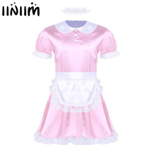 Sexy Costumes Dress-Uniform Apron Satin-Dress Maid Sissy Cosplay Clubwear Girl Mens Iiniim