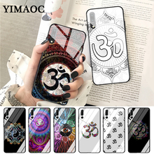 YIMAOC Floral Om Yoga Hindu Aum om yaga Luxury Glass Case for Huawei P10 lite P20 Pro P30 P Smart honor 7A 8X 9 10 Y6 Mate 20