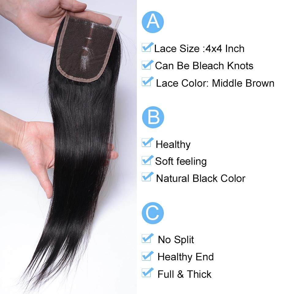 Joedir Hair Brazilian Straight 4x4 Snörning Med Babyhår Mänskligt - Skönhet och hälsa - Foto 2