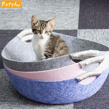 Petshy Pet Cat Beds House Felt Cloth Dog Sleeping Basket Bag Comfortable Breathable Cave Funny Kitten Puppy Nest Free Mat