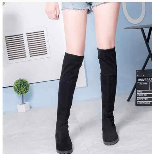 Más nuevos zapatos de terciopelo botas negras sobre la rodilla botas sexis de mujer Otoño Invierno muslo alto botas de mujer tamaño 35-40