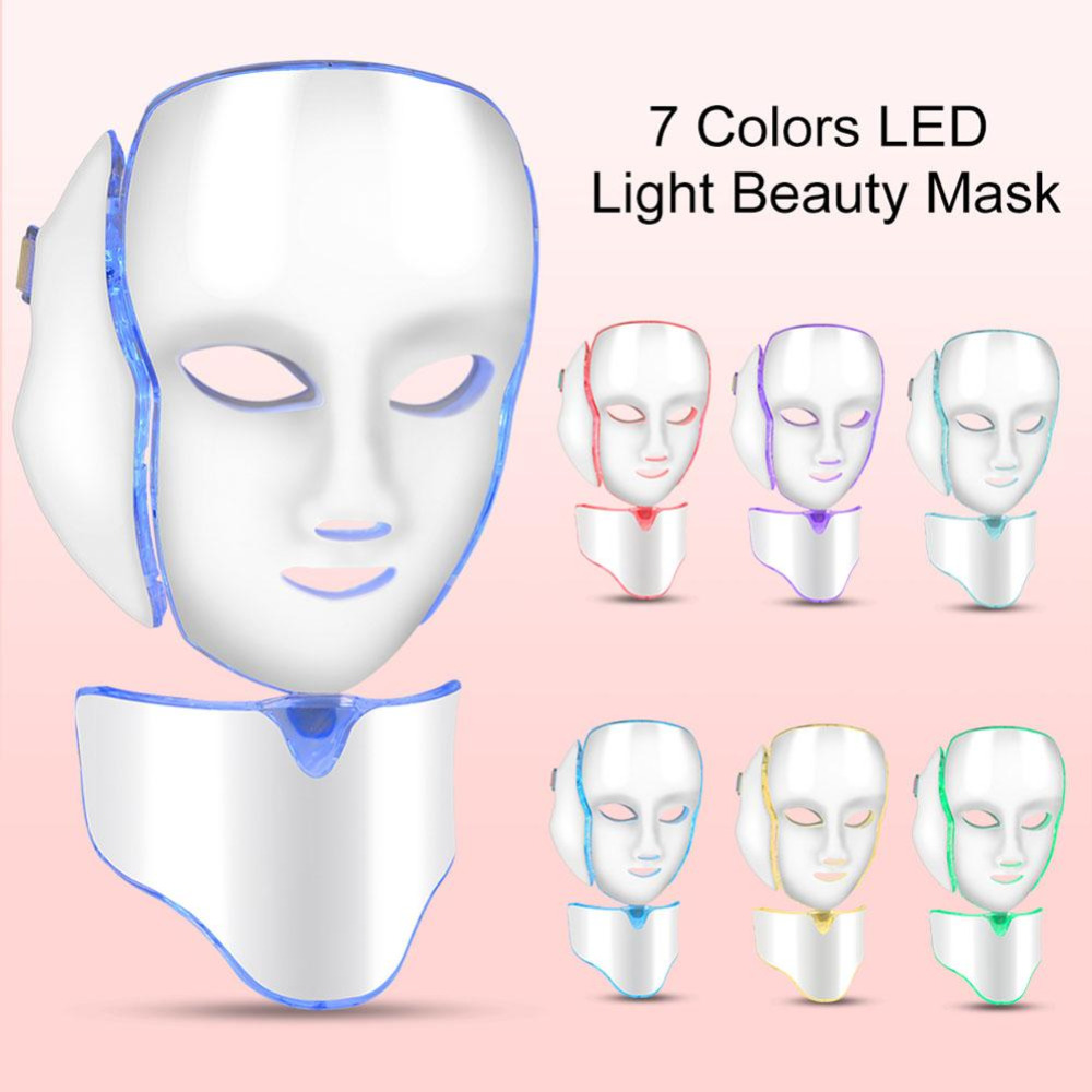 Máscara LED de 7 colores para terapia de luz de fotón para el cuello de la piel para levantar la piel antiarrugas para eliminar el acné para reducir la belleza de la piel Facial máquina-in Herramientas de cuidado de la piel para la cara from Belleza y salud    1