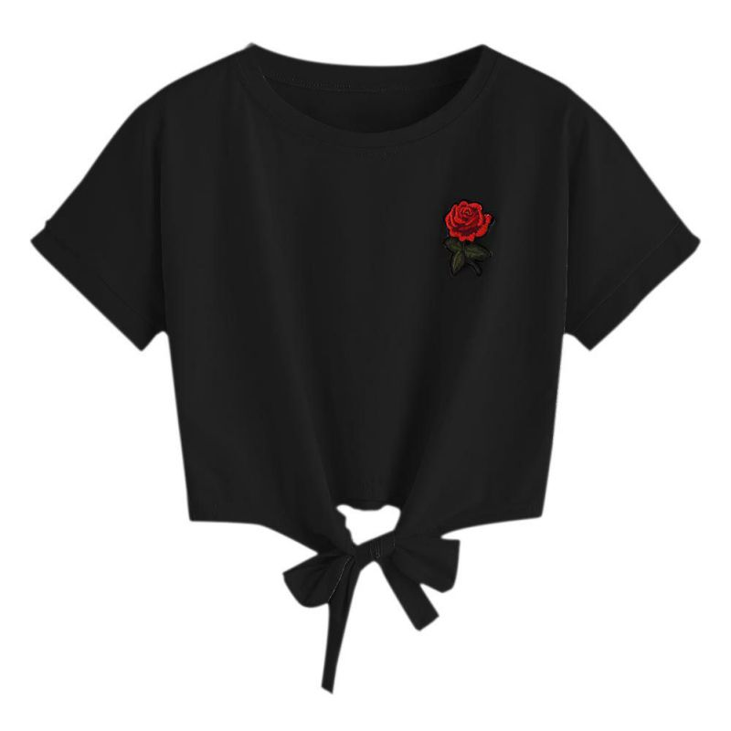 Glorious Woman Clothes Store Short T Shirt Bowknot 2017 New Women  Summer Fashion Sexy Hollow Out Short Sleeve Casual Harajuku Crop Top Rose Embroidery