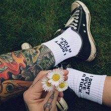 White Cotton Men Socks With Print Hip Hop Skateboard Socks For Men