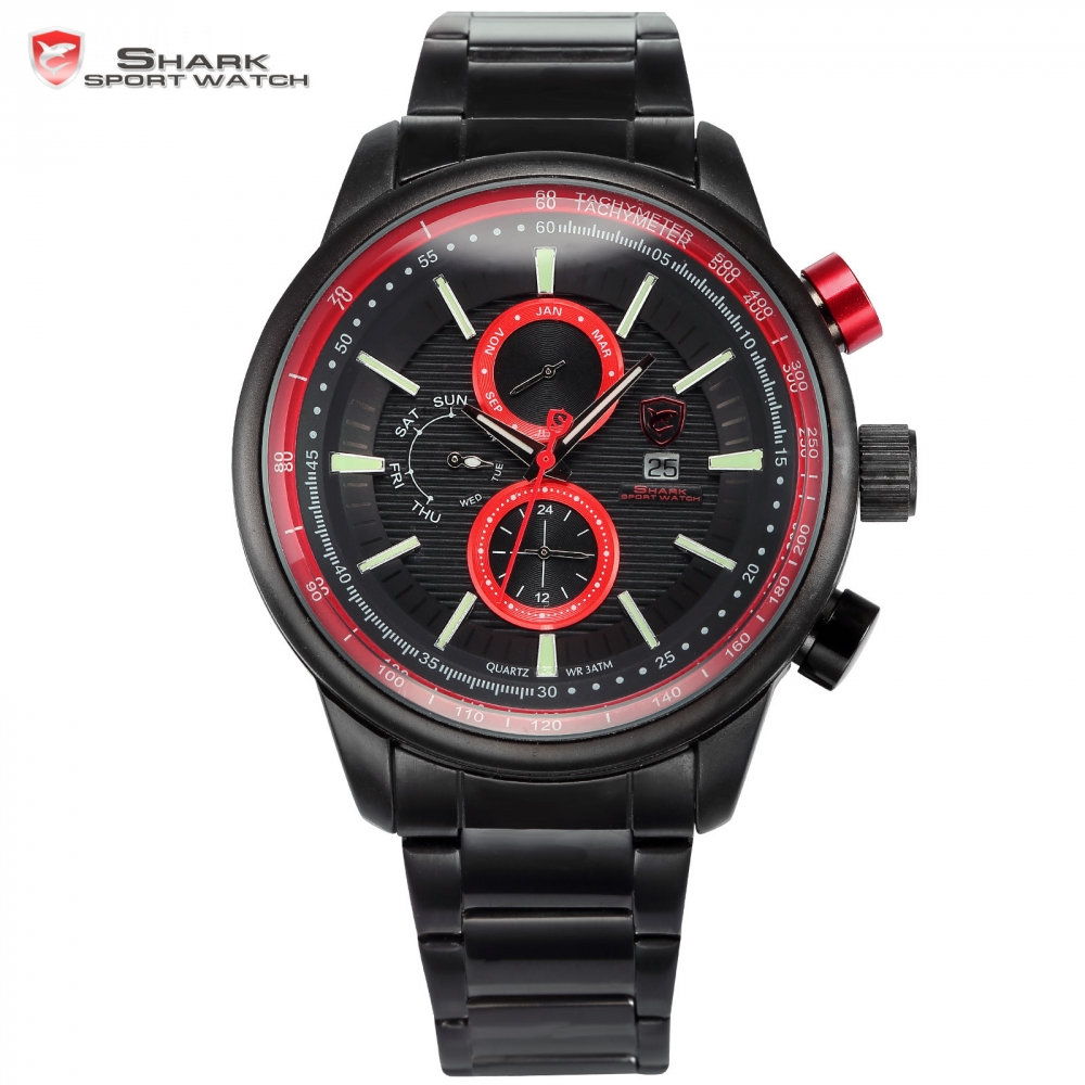Gummy Shark Sport Watch Black Red 3D Dial Date Day Month Quartz Running Mens Stainless Steel Band Military Wristwatch / SH372 blacktip shark sport watch cool black 6 hands dashboard 24hr date day mens outdoor quartz stainless steel band wristwatch sh397