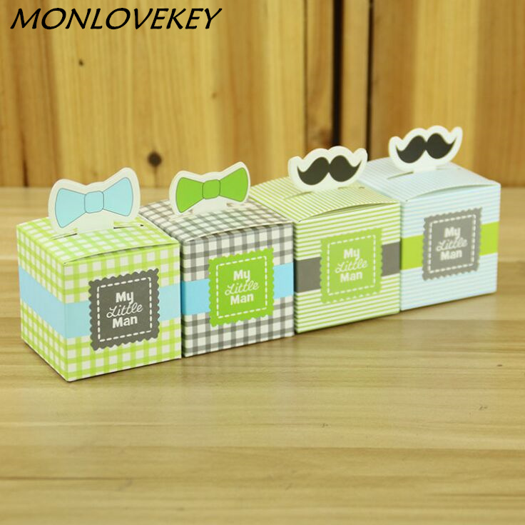 10pcs/Lot My Little Man cute Mustache cute Bow Birthday party Boy Baby Shower Favor Candy Treat Bag baby shower souvenirs