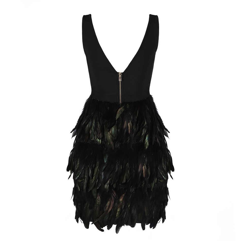 Seamyla новое летнее вечернее платье женское черное перо без рукавов обтягивающее облегающее платье знаменитости ночной клуб пикантное платье vestidos
