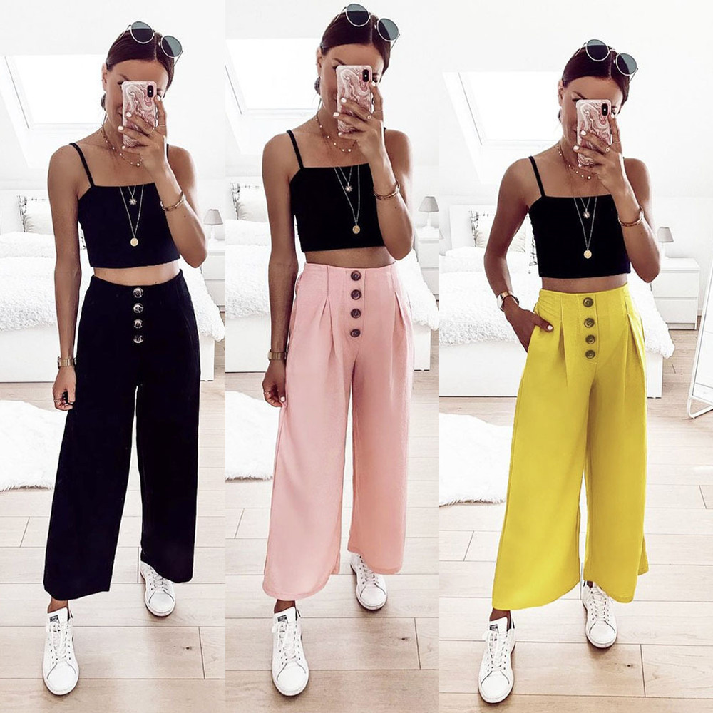 Fashion Women's Palazzo Flared   Wide     Leg     Pants   Plus Size Summer High Waist Loose   Pants   Culottes Long Trousers Korean Style Women