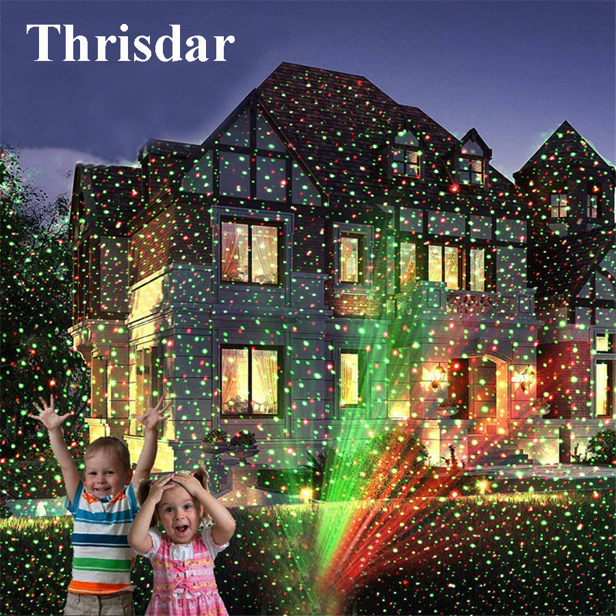 Thrisdar Christmas Laser Light Projector  Waterproof Star Projector Show Moving Red Green Landscape Spotlight For Xmas Hallowen-in Stage Lighting Effect from Lights & Lighting