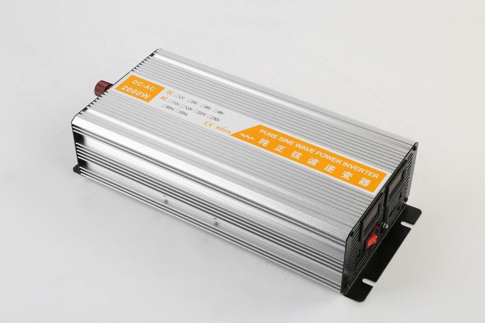 цена на Solar Inverter 2000W 12V/24V/48V DC to 110/220V AC dual digital display Pure Sine Wave Power Inverter peak power 4000W