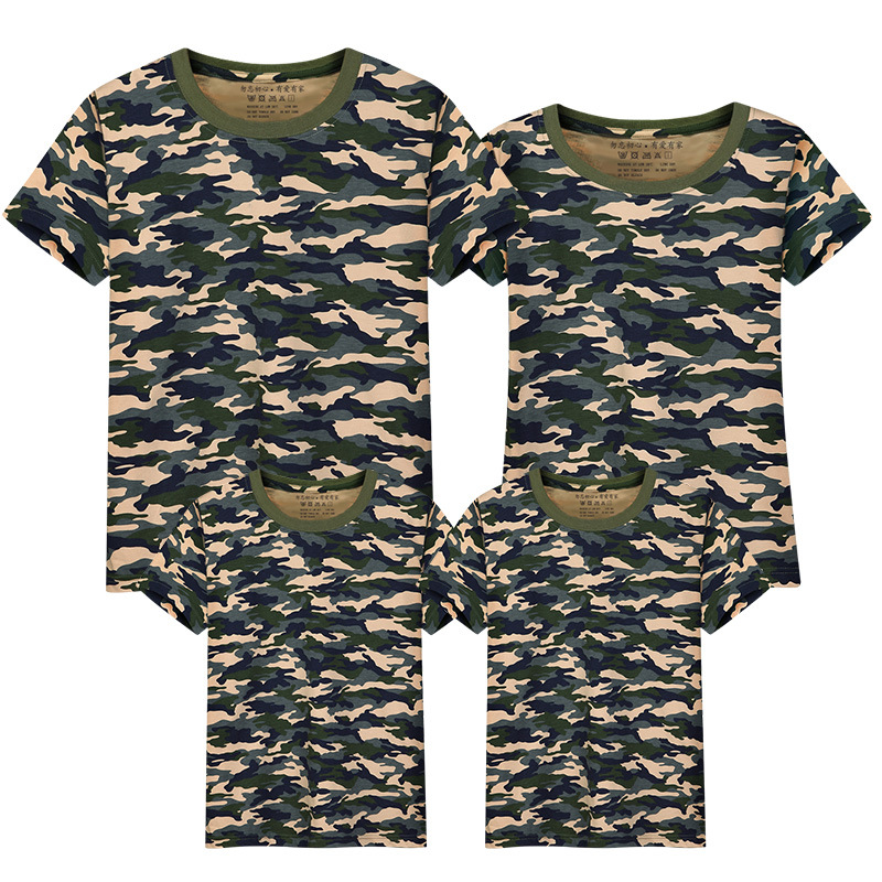 Camouflage family t-shirt matching family clothes cotton summer tops short sleeve t shirt solid tees mother father daughter son ...