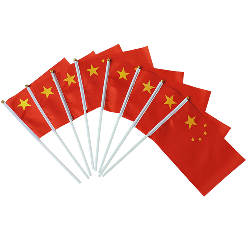21*14cm CHINA National  flag CHINESE flags hand waving flags With Plastic Flagpoles For  ...