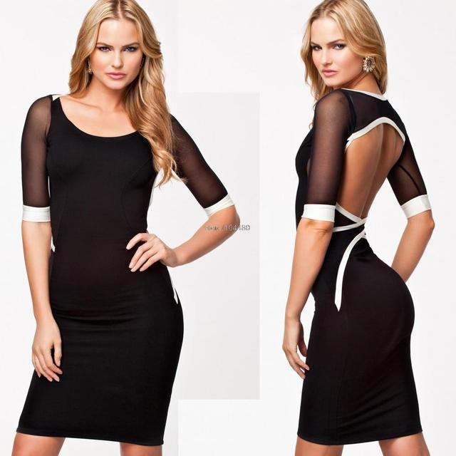 summer dress 2014 european and american Mini Casual New Fashion Patchwork Mesh Backless Sexy Bodycon Club Wear Party Dress