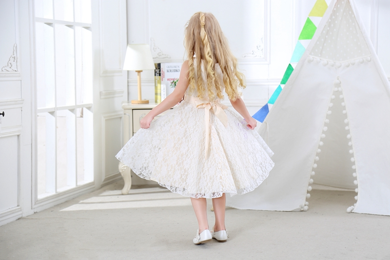 SISRERS Girls party wear clothing for children summer sleeveless lace princess wedding dress girls teenage well party dress 5