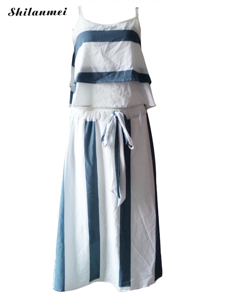 421e1bbb3b5f74 Vrouwen pak 2 stuk jurk set blauw en wit gestreepte off schouder top + gestreepte  maxi rok causale zomer strand 2 stuk set vrouwen in Vrouwen pak 2 stuk ...