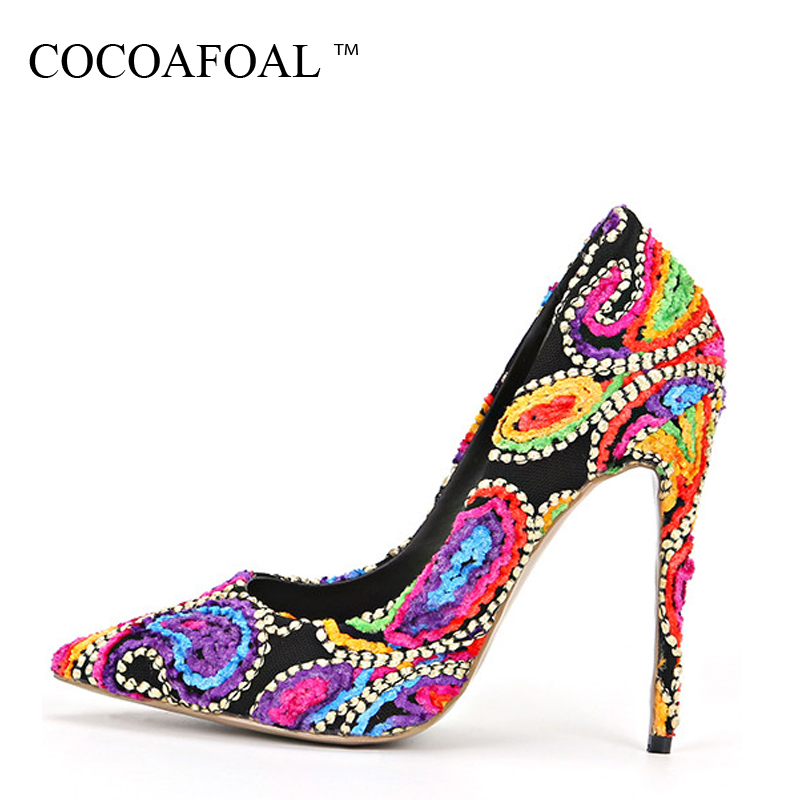 COCOAFOAL Woman Ultra High Heels Shoes Plus Size 33 - 43 Fashion Sexy Manual Wedding Pumps Party Stiletto 12 CM Embroider Pumps cocoafoal stiletto woman purple shoes plus size 34 43 sexy party wedding ultra high heels shoes pointed toe red 12 cm pumps