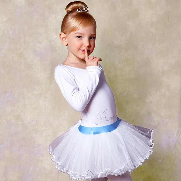 Long Sleeves Ballet Dance Leotard Girls White Dancewear 2-9 Years Children Kids Professional Ballet Tutus Gymnastics Leotard