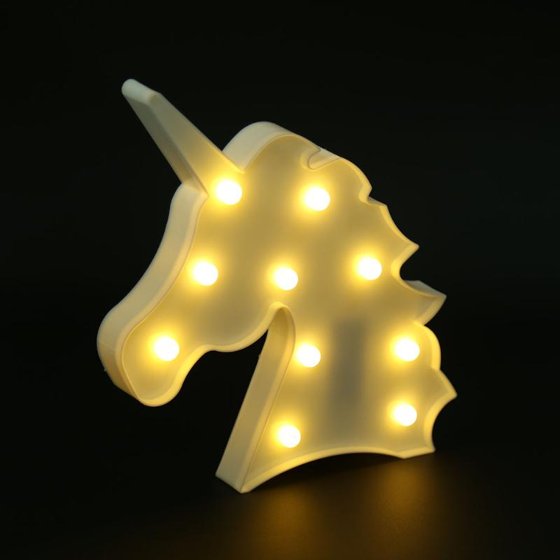 цена  Unicorn Shaped Night Lights 3D Lamp White Marquee Unicorn Sign Marquee Letter Nightlight Home Decor Battery Powered Wall Lamp  онлайн в 2017 году